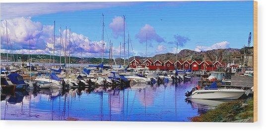 Charming Marina Orust Sweden Wood Print