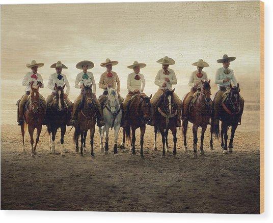 Charros Riding Wood Print