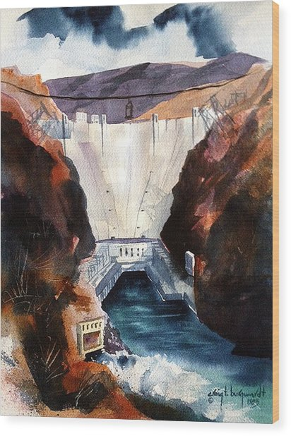 Char's Hoover Dam Wood Print