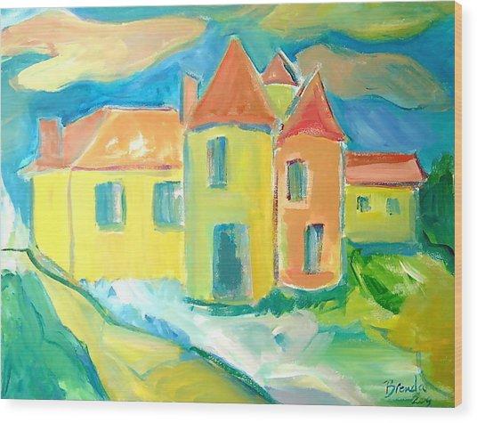 Chateau Wood Print by Brenda Ruark