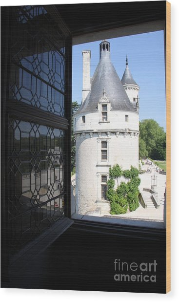 Chateau Chenonceau Tower Through Open Window  Wood Print by Christiane Schulze Art And Photography