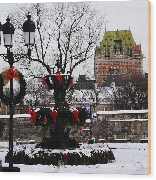 Chateau Frontenac - Holiday Wood Print by Jacqueline M Lewis