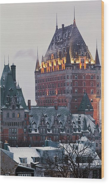 Chateau Frontenac In Winter Wood Print by Doug Mckinlay