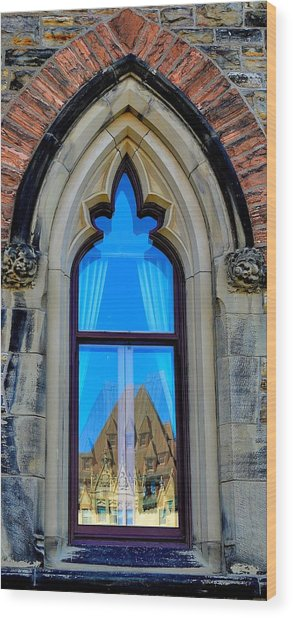 Chateau Laurier - Parlaiment Window - Reflection # 6 Wood Print