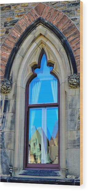 Chateau Laurier - Parlaiment Window - Reflection # 5 Wood Print