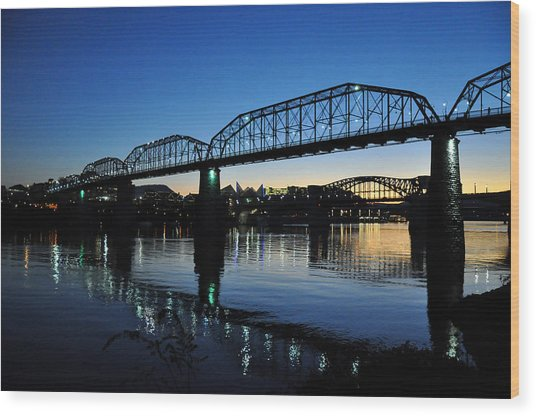 Tennessee River Bridges Chattanooga Wood Print