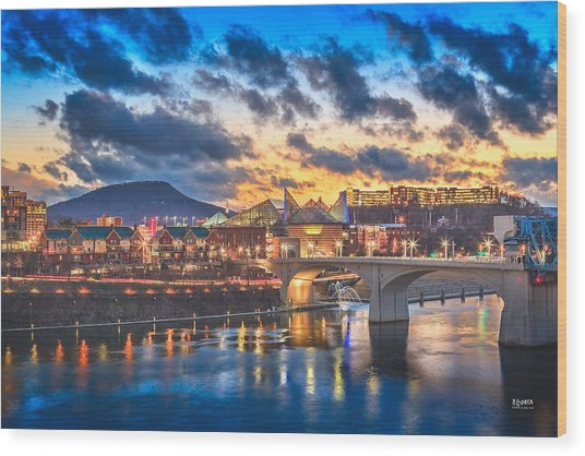 Chattanooga Evening After The Storm Wood Print
