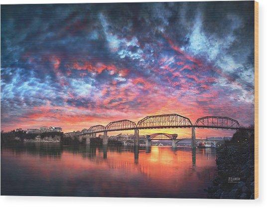 Chattanooga Sunset 4 Wood Print