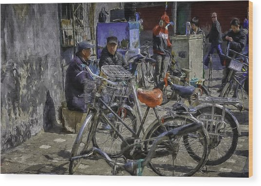 Chatting Amongst The Bikes Wood Print by Barb Hauxwell