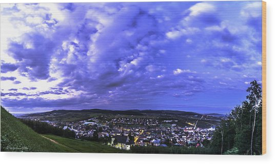 Checiny Town Blue Hour Panorama Wood Print