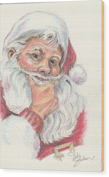 Santa Checking Twice Christmas Image Wood Print