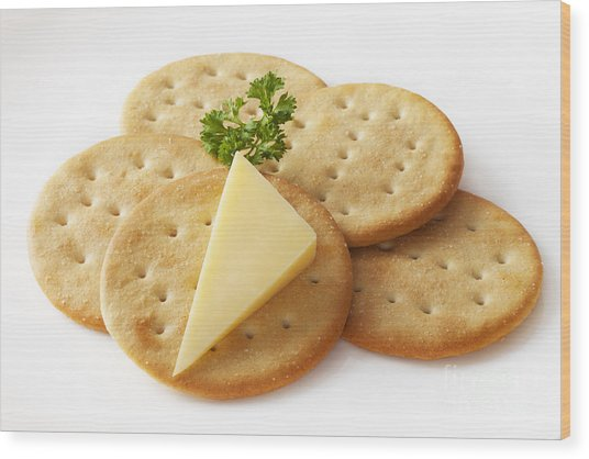 Cheddar Cheese And Crackers Wood Print by Colin and Linda McKie