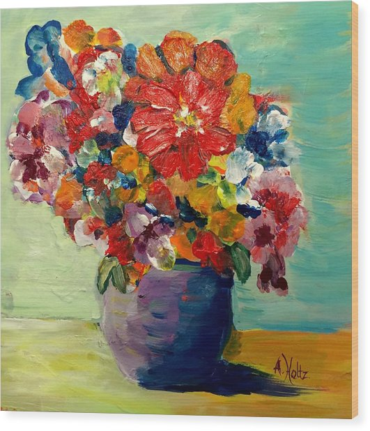 Cheerful Flowers In Pot Wood Print