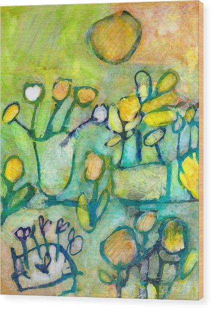 Cheerful Garden Wood Print