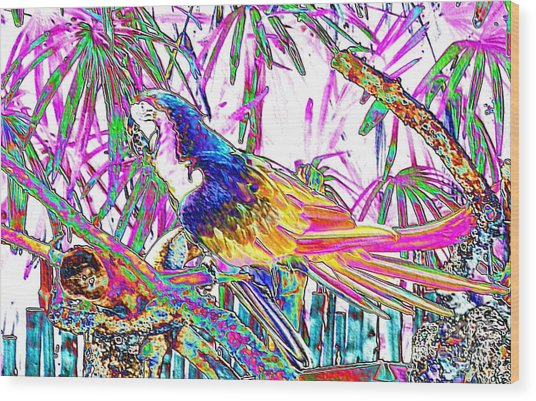 Cheerful Parrot. Colorful Art Collection. Promotion - August 2015 Wood Print