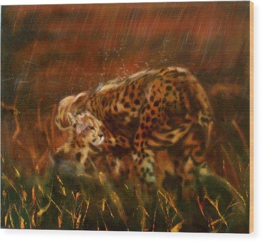 Cheetah Family After The Rains Wood Print