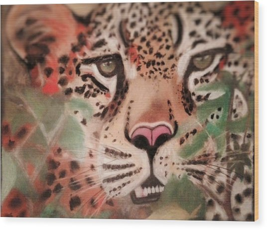 Cheetah In The Grass Wood Print