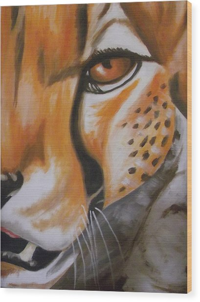 Cheetah Up Close Wood Print by Scott Dokey