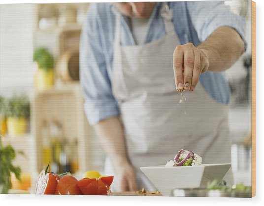 Chef Decorating A Plate With Healthy Salad Wood Print by Fotostorm