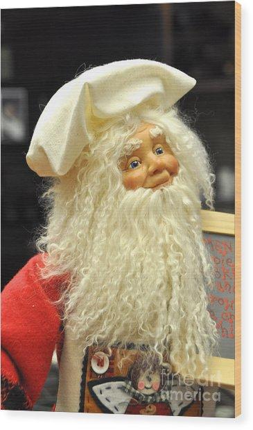 Chef Santa Wood Print by Vinnie Oakes