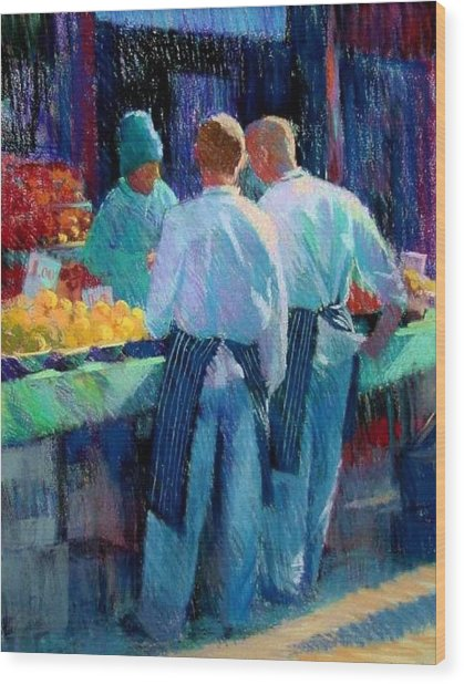 Chefs At The Market Wood Print by Jackie Simmonds