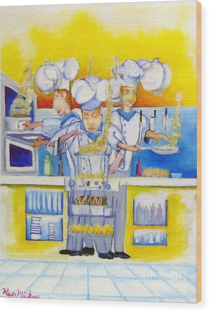 Chef's Kitchen Wood Print by Kenneth Michur