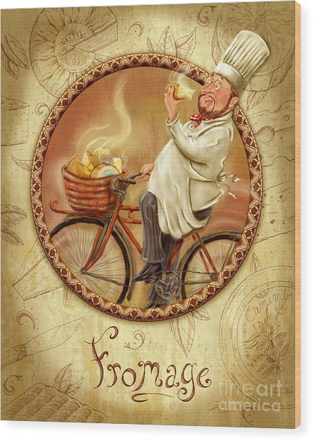 Chefs On Bikes-fromage Wood Print