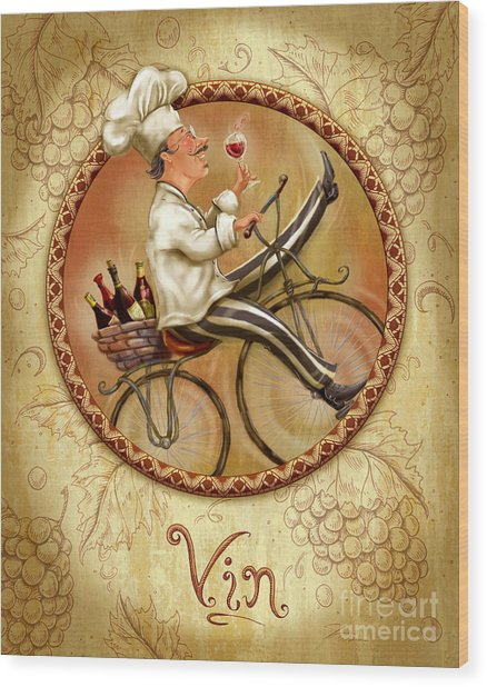 Chefs On Bikes-vin Wood Print
