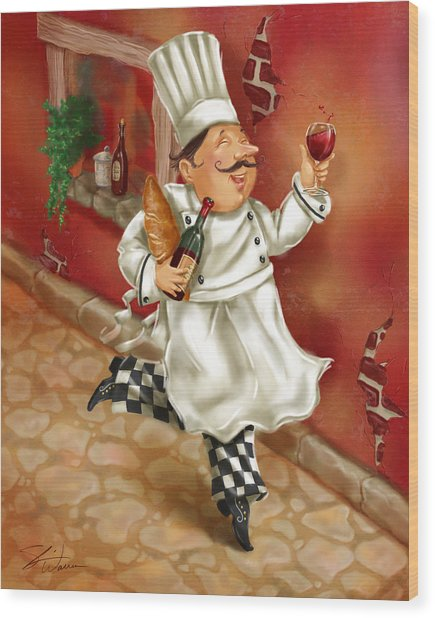 Chefs With Wine I Wood Print