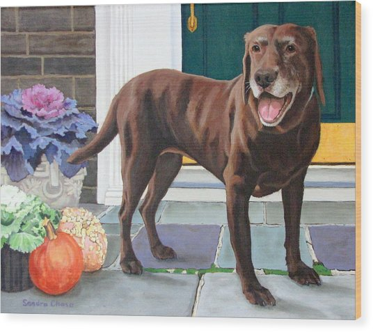 Chelsea At The Door Wood Print