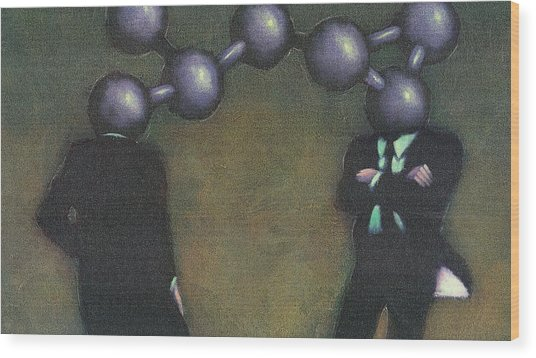 Chemically Bonded Businessmen Wood Print by Tim Teebken