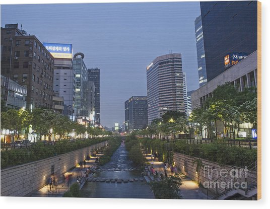 Cheonggyecheon Stream In Seoul South Korea Wood Print