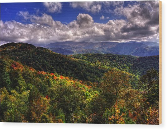 Cherohala Skyway Brushy Ridge Overlook Wood Print