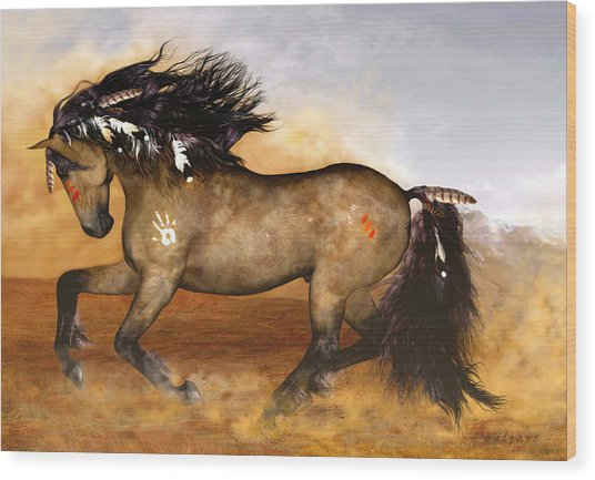 Wood Print featuring the painting Cherokee by Valerie Anne Kelly