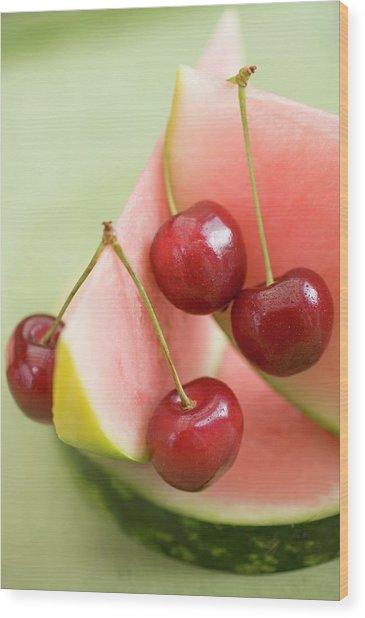 Cherries And Watermelon Wood Print