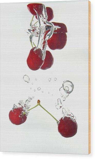 Cherries Fruits Splashing Underwater Wood Print by Sami Sarkis