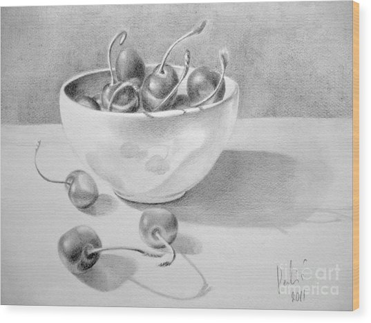 Cherries In White Bowl Wood Print