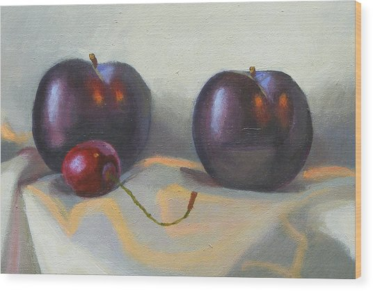 Cherry And Plums Wood Print by Peter Orrock