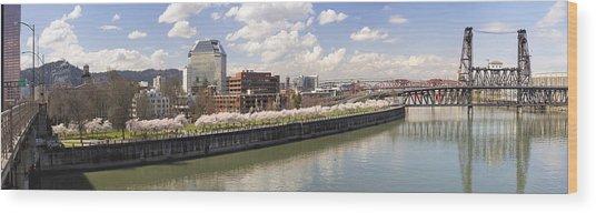 Cherry Blossom Along Portland Oregon Waterfront Panorama Wood Print