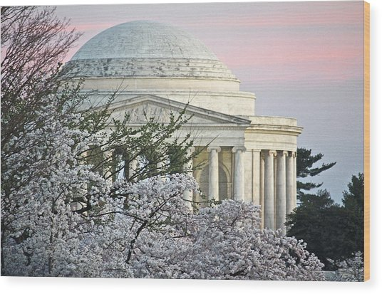 Cherry Blossom Sunset Wood Print