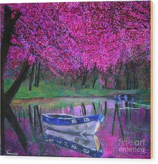 Cherry Blossoms By The Lake Wood Print