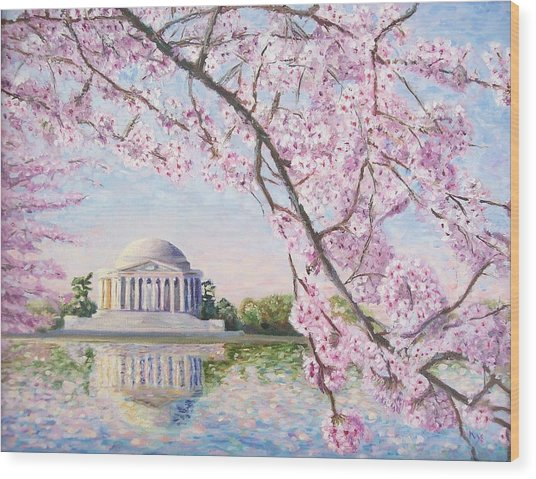 Jefferson Memorial Cherry Blossoms Wood Print