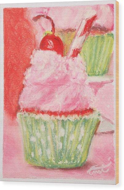 Cherry Limeade Cupcake Wood Print