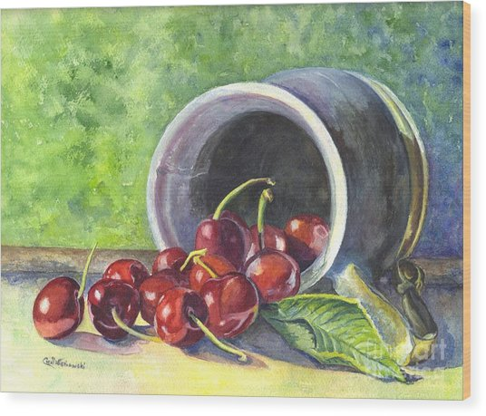 Cherry Pickins Wood Print