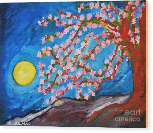 Cherry Tree In Blossom  Wood Print