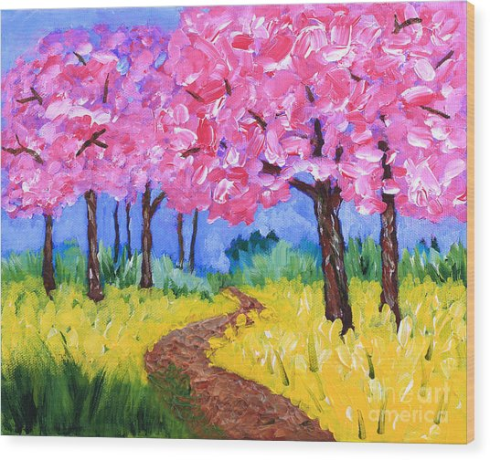 Cherry Trees And Field Mustard After The Rain Acrylic Painting Wood Print