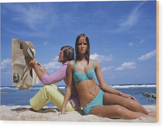 Cheryl Tiegs Modeling A Bikini At A Beach Wood Print