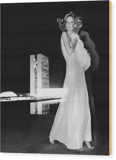 Cheryl Tiegs Wearing A Halston Evening Gown Wood Print