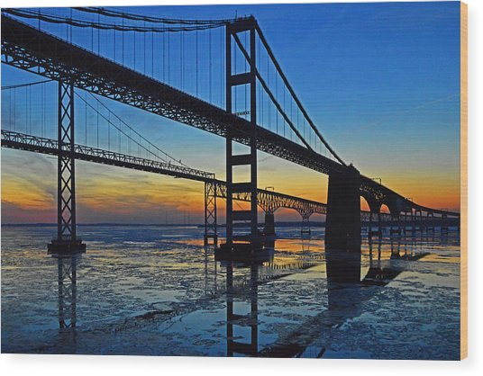 Chesapeake Bay Bridge Reflections Wood Print