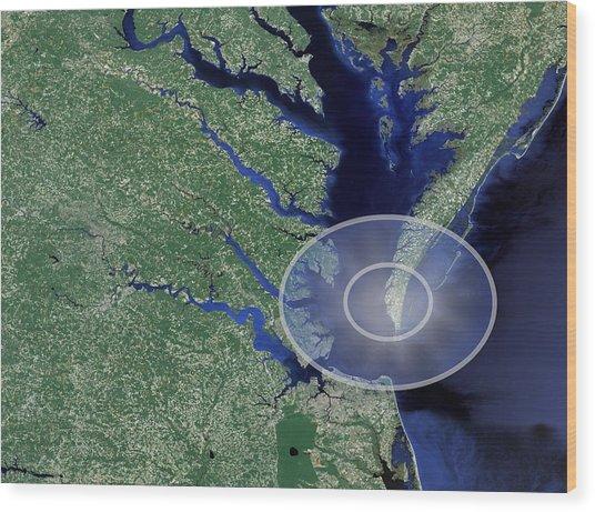 Chesapeake Bay Impact Site Wood Print by Nasa/science Photo Library